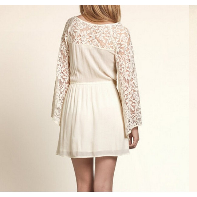 Beige Lace Bell Sleeve Tunic
