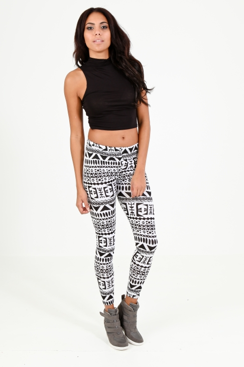 Black and White Aztec Leggings | OMG Fashion Leggings