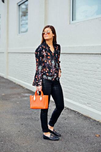 to be bright blogger pants shoes bag handbag orange bag loafers black pants