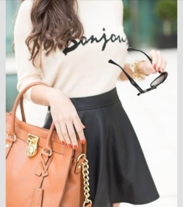 skirt sweater black leather skirt circle skirt bag blouse bonjour top shirt