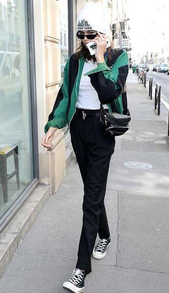 jacket streetstyle model off-duty pants sneakers kaia gerber beanie hat