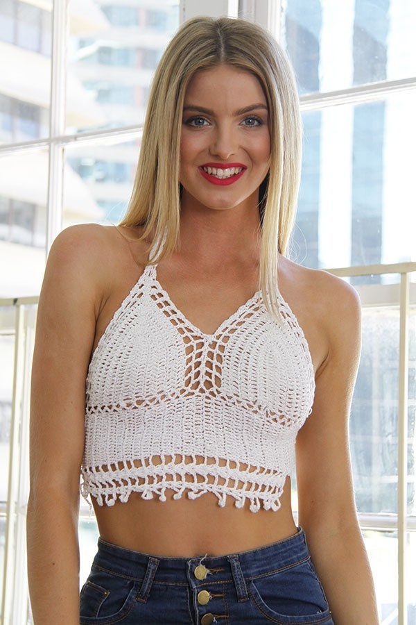 White Crochet Cropped Halter Top