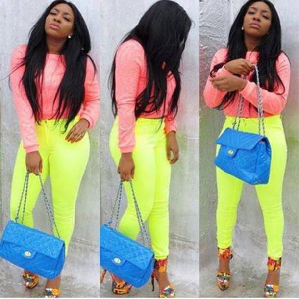 pants jeggings leggings neon lime pink blue bag