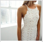 white dress,lace dress,dress,lace,crochet,white lace dress,flower white lace dress,thin strap,boho,wedding dress,floral dress,boho wedding dress,formal,scalloped edges,scoop neck,white,prom dress,prom,halter neck,white flowered lace dress,bodycon dress,bridesmaid,chic,pretty,fashion,dress with blondes,bodycon,pattern,cute,summer,blanc,fleur,scalloped