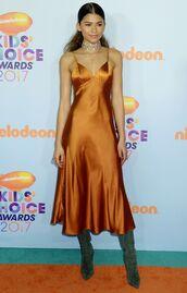 dress,orange,orange dress,silk,silk dress,midi dress,camisole,gown,zendaya,choker necklace