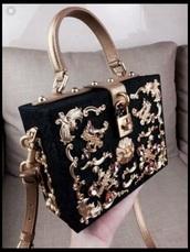 bag,haute couture,black,gold