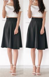 skirt,flare silhouette,midi skirt,elegant skirt,black skirt,chic skirt,ladies skirts,office outfits