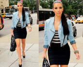 jacket,jackets in jeans,blue,denim jacket,stripes,black skirt,mini skirt,kim kardashian,black leather bag,high heels,jewels