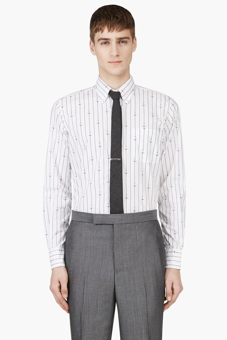 Thom browne white anchor and stripe print shirt for Thom browne white shirt
