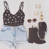 blouse,black blouse,flowers,sunflower,crop tops,floral tank top,floral,floral blouse,cute,cute blouse,earrings,gold earrings,accessories,boots,brown combat boots,cute outfits,outfit,summer,shoes,shorts,jewels,tank top,black,sunglasses,light blue,denim,shirt,indie,High waisted shorts,denim shorts,hipster,gold jewelry,shorts????,summer outfits,sweater,yellow,top