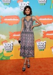 dress,midi dress,gown,zendaya,sandals,platform sandals,shoes