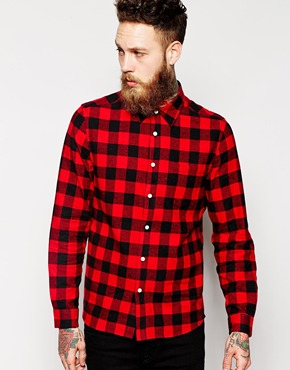 ASOS Shirt In Long Sleeve With Brushed Buffalo Check at asos.com