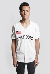 Button-Down Baseball Jersey: Off-White