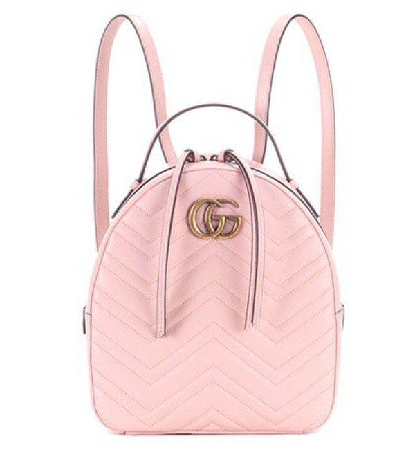 Gucci GG Marmont matelassé leather backpack in pink