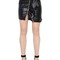 Zip-up faux leather mini skirt w/ ruffle