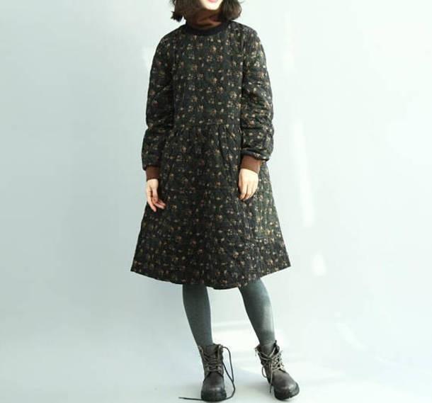 dress black dress floral pullover dress