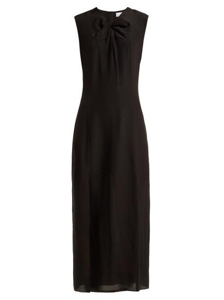 Raey - Knot Front Silk Dress - Womens - Black
