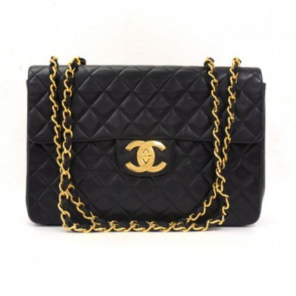 Vintage Chanel Maxi Jumbo XL Black Quilted Leather Shoulder Bag on Wanelo