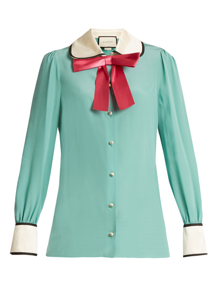 GUCCI Decorative-bow silk-georgette shirt in green / multi