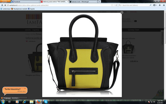 bag tote black handbag yellow