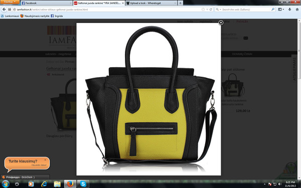 bag handbag tote bag black yellow