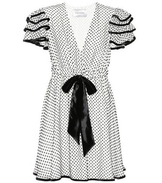 Valentino Polka-dot silk-blend dress in white