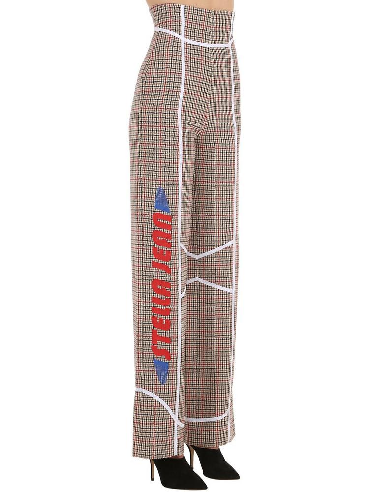 STELLA JEAN Printed Wool Blend Check Wide Leg Pants in beige / beige
