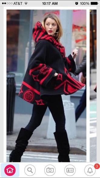coat red black cape cape coat