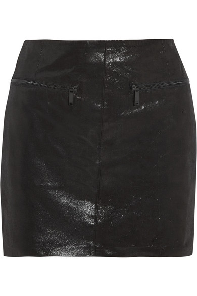 Karl Lagerfeld | Delphie coated leather mini skirt | NET-A-PORTER.COM