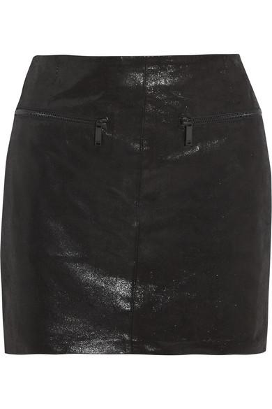 Karl Lagerfeld|Delphie coated leather mini skirt|NET-A-PORTER.COM