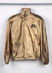 jacket,nike,nike jacket,gold,windbreaker,unisex,gold jacket,nike air,gold nike,vintage,90s style,goldie,tumblr,dope,wavey,gradient,nike sweater