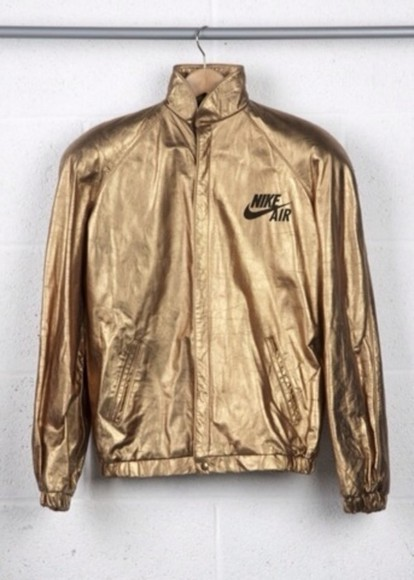 tumblr jacket nike gold windbreaker 90s vintage nike air gold nike windbreaker jacket goldie dope fresh wavey nike jacket unisex gold jacket