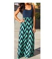 dress,maxi dress,navy,chevron,long dress,light blue