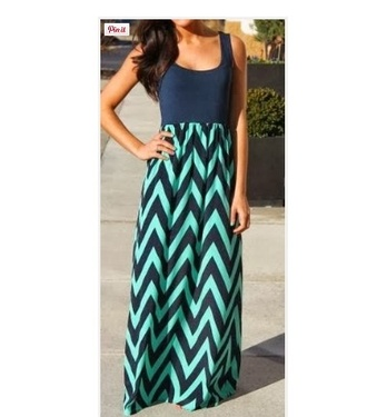 dress maxi dress navy chevron long dress light blue