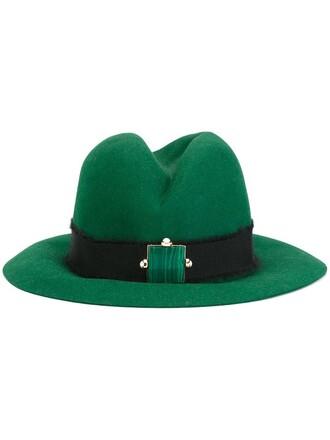 fur women fedora green hat