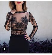 blouse,shirt,top,long sleeves,see through,black top,floral,cute top,red lipstick,lipstick,black skirt,skirt,pencil skirt,high waisted skirt,outfit,outfit idea,summer outfits,cute outfits,date outfit,party outfits,spring outfits,lace top