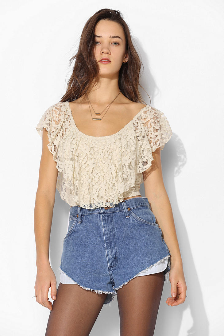Kimchi Blue Lace Ruffle Top - Urban Outfitters