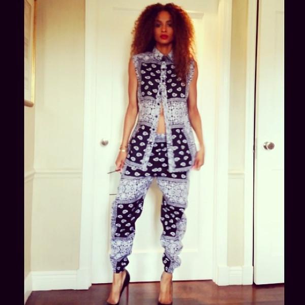 pants clothes tank top shirt ciara shoes louboutin blouse bandana print joggers bandana print top jumpsuit