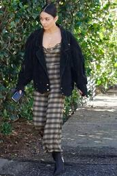 jumpsuit,plaid,vanessa hudgens,fall outfits,streetstyle,boots,jacket