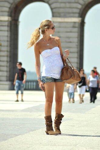 shoes brown boots shirt white t-shirt tank top