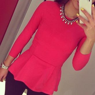 top watch jewels jeans necklace yellow georgeus t-shirt peplum top peplum shirt