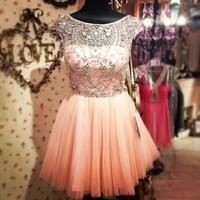 Stunning illusion short homecoming dresses, pink prom dresses, party dresses,sweet 16 dresses, cocktail dresses