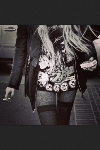 the pretty reckless grunge black and white leather jacket taylor momsen cigarette little black dress skull shirt