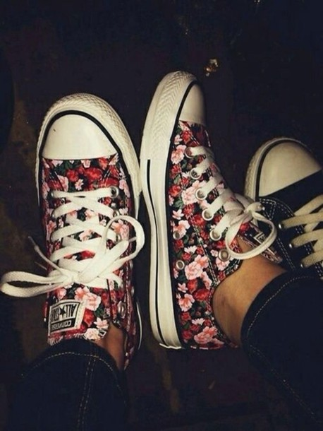 8a1cfb57956 shoes converse roses all star floral floral converse cute cute shoes  converse flowers pink black shirt