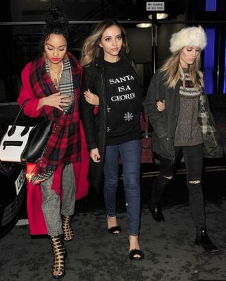 sweater sandals jeans coat hat jade thirlwall perrie edwards leigh-anne pinnock red coat pants