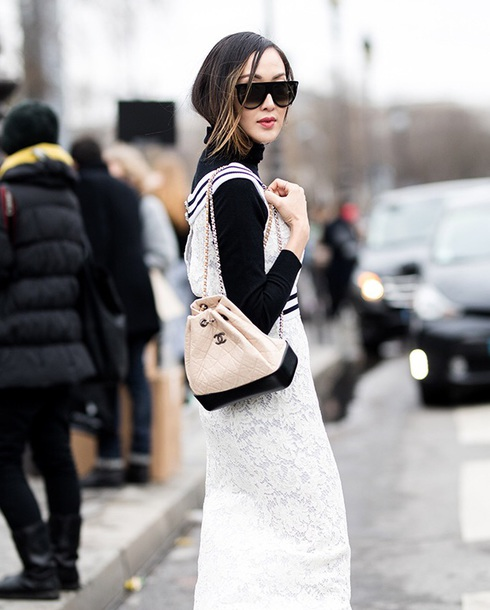 0d33606189fd2b bag chanel gabrielle backpack white backpack chanel bag chanel dress black  top sunglasses streetstyle white dress