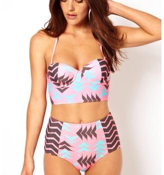 swimwear pink blue brown aztec pattern high-waisted bikini