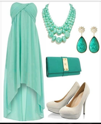 dress strapless strapless dress cross over top teal aqua necklace earrings drop earrings clutch heels high heels chiffon dress flowing dress empire waist empire waist dress clothes outfit high-low dresses