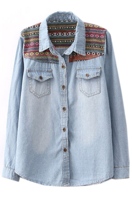 ROMWE | Nation Wind Embroideried Light-blue Shirt, The Latest Street Fashion