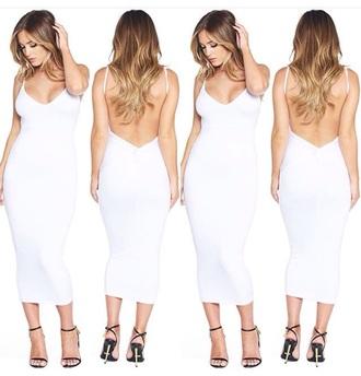 dress summer dress date outfit white dress bodycon dress backless dress sexy dress